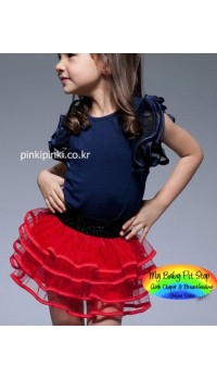 Korean Girl Red Tutu Skirt (2Y, 4Y, 5Y, 6Y, 7Y)